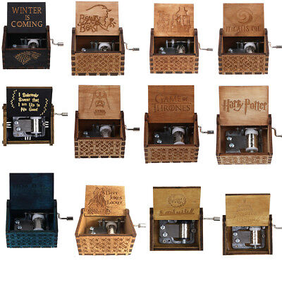 Retro Wooden Hand Crank Engraved Music Box Game of Thrones Harry Potter Moana