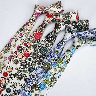 Men Colorful Floral Printing Neck Tie Party Wedding High Quality Flower Neckties