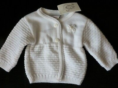 Baby Girls White  Matinee Jacket/Cardigan by Dandelion.  Size  0-3 Months nwt