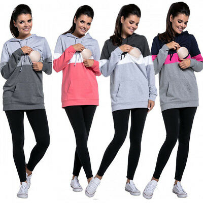 US Maternity Clothes Breastfeeding Tops Hoodies Sweat Women Nursing Tops Fashion