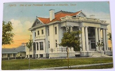 Prominent Residence, Amarillo, TX 1915  Postcard / stamp F528