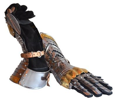 Medieval Armour Articulated Gauntlets Gloves W/Brass Accents Halloween Costume