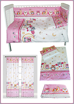 PINK OWLS Girls Baby Nursery Bedding Set for Cot, Cot Bed 2 3 4 5 6 pieces