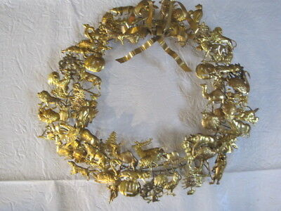 "Vtg Brass Dresden Petites Choses Wreath 15"" All Seasons Animals Makers Charm"