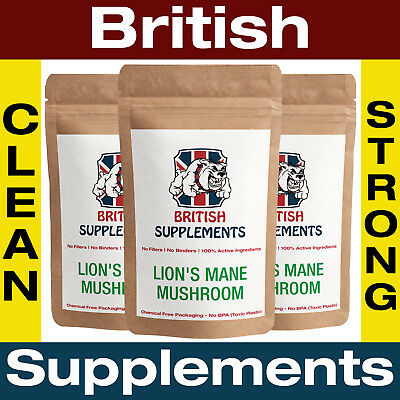 Clean Lions Mane Mushroom Extract Nerve Anxiety Depression British Supplements