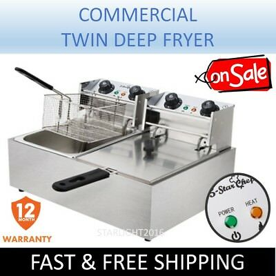 Commercial Deep Fryer Electric Double Basket Benchtop Cooker Stainless Steel