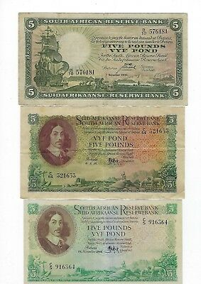 South Africa 3 types of 5 Pounds 1935, 1948 & 1958. JO-5589