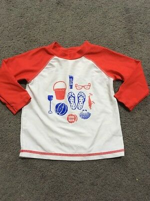 Baby Boys Red And White Long Sleeve Rashie Top Size 0 EUC