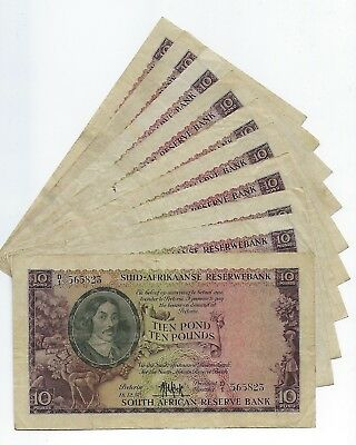 *Bulk Buy* South Africa 10 Pounds VF/VF+ x 10 notes. JO-5591