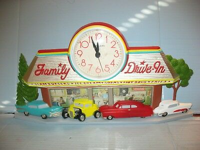 Family Drive-In Plastic 50's Clock Wall Decoration
