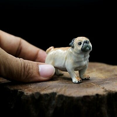 New Pug Dog Ceramic Figurine Hand Painted Collectibles Art Decor Charm Gift