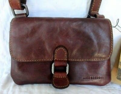 NWT JACK GEORGES Voyager Collection Small Brown Leather Crossbody ... a3ea5f407a