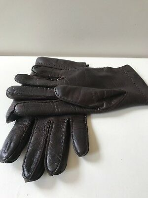 be2dc8e01 Vintage Ladies Brown Leather Gloves Small 1970's 80's Retro Driving