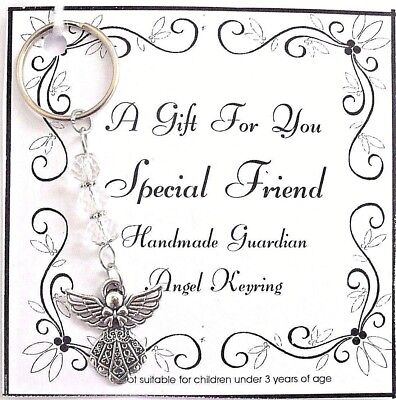 GIFT  SPECIAL FRIEND Guardian Angel Keyring Bag / Charm Crystal Beads. Present