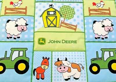 "NEW LOWER PRICE! HANDMADE""JOHN DEERE"" BOYS  COTTON 35inX43in BABY/TODDLER QUILT"