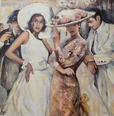 """MARYSIA BURR """"BISTRO GARDEN"""" Hand Signed Limited Edition Giclee on Canvas Art"""
