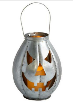 New Lighted Galvanized Metal Jack - O - Lantern Halloween Decor Led 10.25""