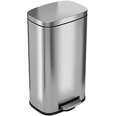 ITouchless SoftStep 8 Gallon Stainless Steel Trash Can, 30 Liter Pedal Kitchen