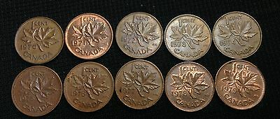 1970-79 Canada CENTS, Canadian Pennies ( 10 Different ), Cheap