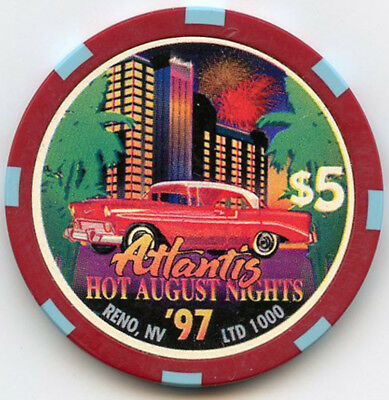 Atlantis Hotel/Casino, Reno - $5 Chip - Hot August Nights - 1997