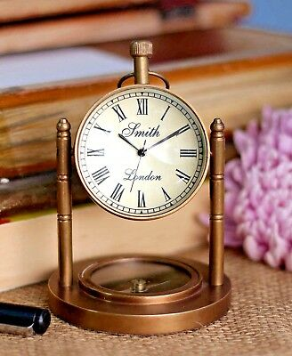 Copper Antique style DeskTop Clock with compass Nautical Home Office Decor
