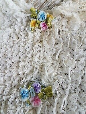Antique French Lace Doll Collar Ruffled Ribbon Work Rose Flowers Dress VTG Trim
