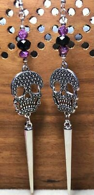 Day of the dead skull spike earrings punk goth kitsch dangle handmade