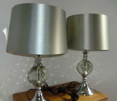 Pair of Large Glass Crystal Duchess Table Lamps with Chrome finish base.(48 cms)