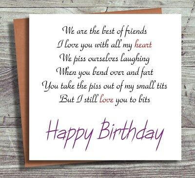 Funny Birthday Card Best Friends Poem Joke Humour Cards
