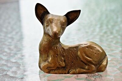 vintage small heavy brass baby deer fawn figurine