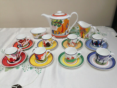 WEDGWOOD CLARICE CLIFF Cafe Chic Coffee Set Complete 8 cups/saucers in VGC