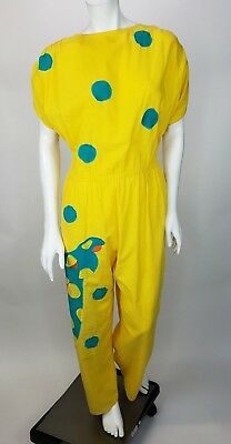 Vintage Alfredo's Wife Jumpsuit Yellow Giraffe Applique Jumper