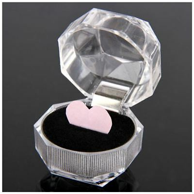 30pcs Plastic Clear Crystal Jewelry Ring Display Storage Boxes Black R7W4