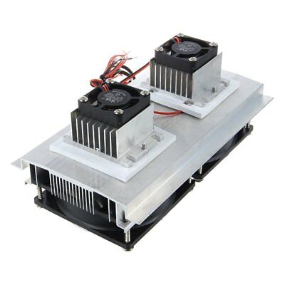 Thermoelectric Peltier Refrigeration Cooling System Kit Cooler Double Fan D W9A7