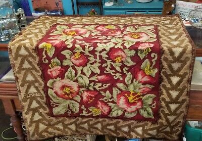 """Antique Stroock Carriage Buggy Blanket Flowers 61""""x 52"""""""