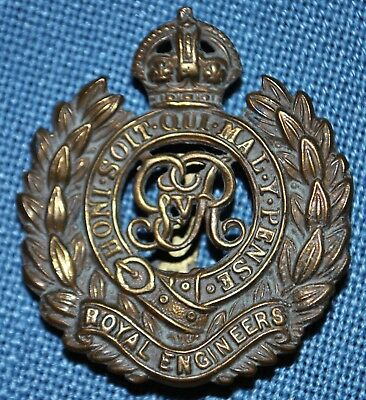 WWI British RE Royal Engineers Corps (George V) Cap Badge - Clip Intact