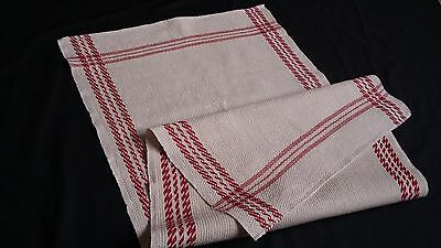 unused linen Runner Towel with wafer structure and red woven border