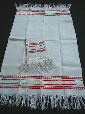 old linen kitchen Towel Runner with red stripes and fringes