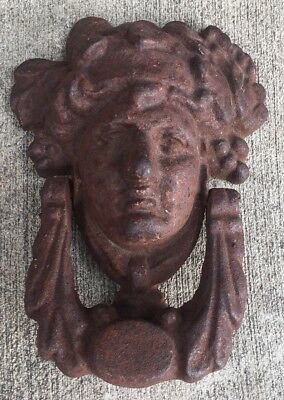 Antique Cast Iron Heavy Womens Head Door Knocker Old