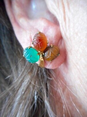 Authentic Vintage Tiger Eye, Grn Agate & Carnelian Scarab GF Screwback Earrings