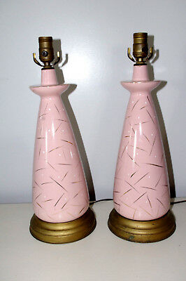 Pair of Vintage Mid-Century Retro Pink Table Lamps