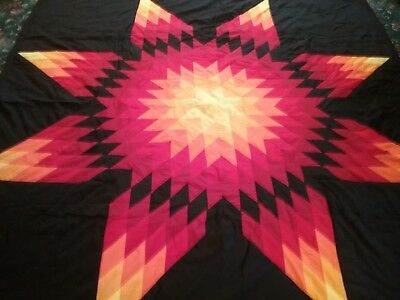 Beautiful Authentic Native American Lakota Star Quilt Black Free
