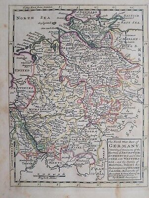 1732 Herman Moll Mapa The North West Part of Germany Map Alemania Germania