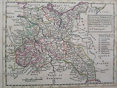 1732 Herman Moll Mapa  The N.E. Part of Germany Brandeburg Map Alemania Germania