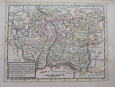 1732 Herman Moll Mapa The South West Part of Germany Map Alemania Germania Mentz