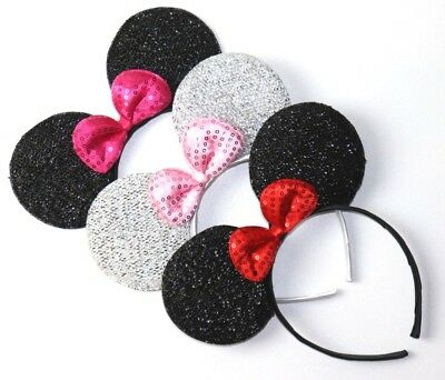 """Disney Minnie Mouse Quality Red Pink Hair Bow Ribbon Clip 3.125/"""" 8cm 4 Pcs"""