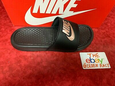 f989d6f2b716 Nike Benassi JDI Women s Sandals Black Rose Gold 343881 007 Sz 6-10 Free