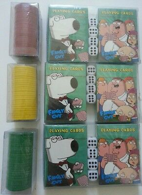 Family Guy Poker Playing Cards & Poker Chips (set of 3) NEW