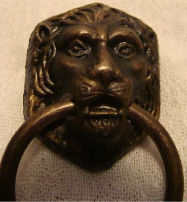 1 Antique Vintage Brass Decorative Hardware Drawer Pull Lion Head Motif