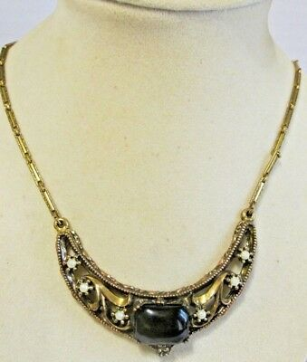 ANTIQUE c.1900 Early 19th Century Plaque Gold Etch Bar Link Glass Pearl Necklace